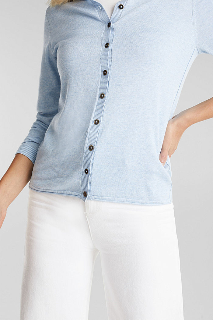 Basic cardigan, organic cotton, LIGHT BLUE, detail image number 2