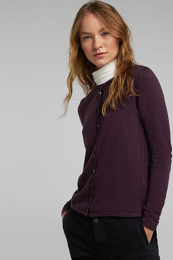 Basic Cardigan, Organic Cotton, AUBERGINE, detail image number 0