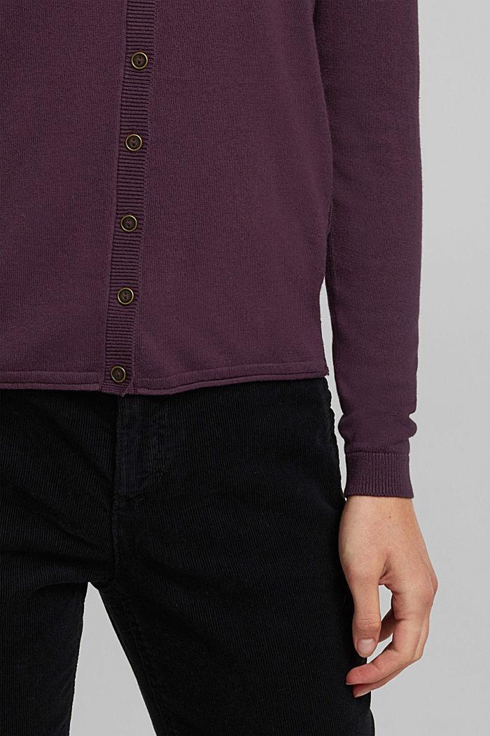 Basic Cardigan, Organic Cotton, AUBERGINE, detail image number 2