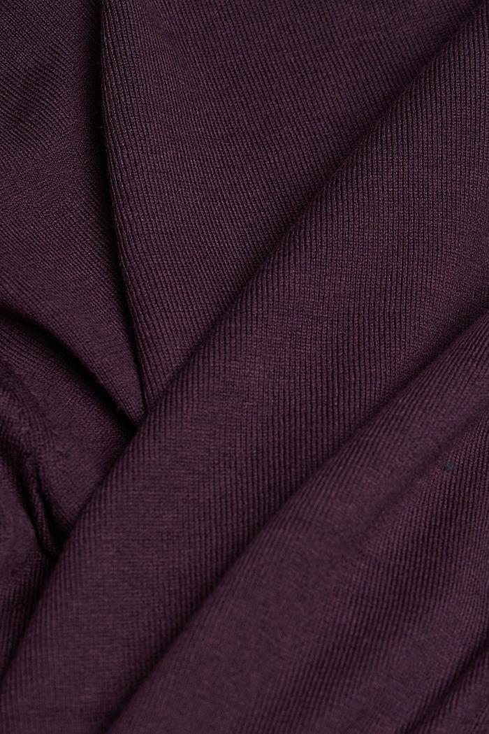 Basic Cardigan, Organic Cotton, AUBERGINE, detail image number 4