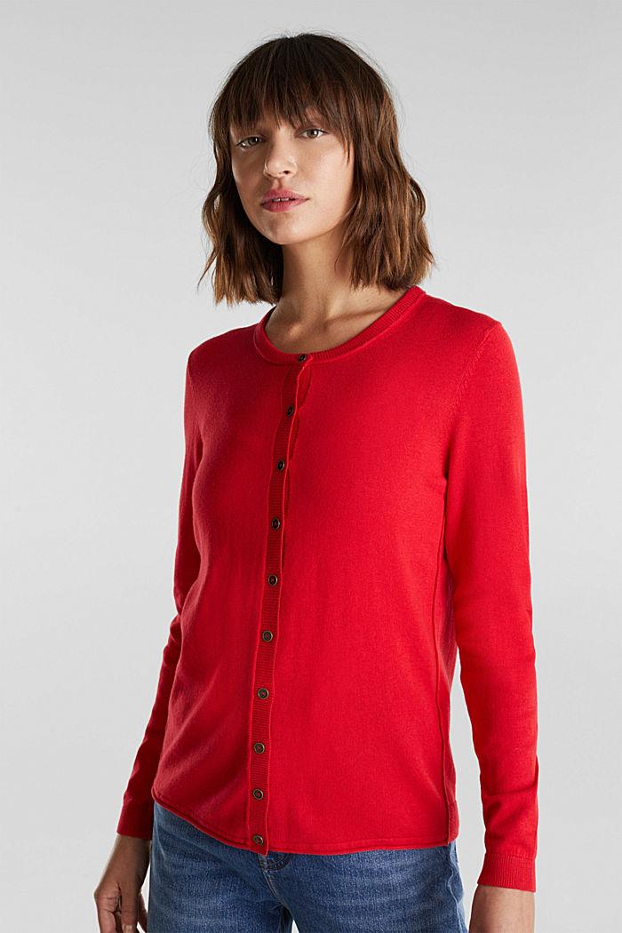 Basic cardigan, organic cotton, RED, detail image number 0