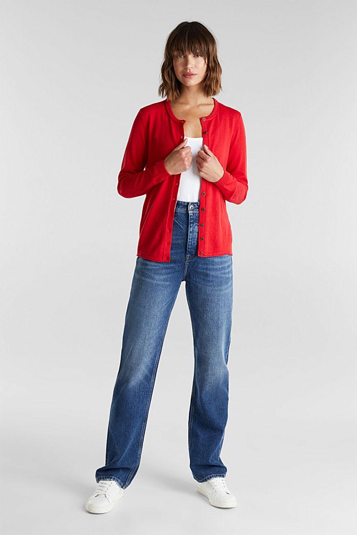 Basic cardigan, organic cotton, RED, detail image number 1