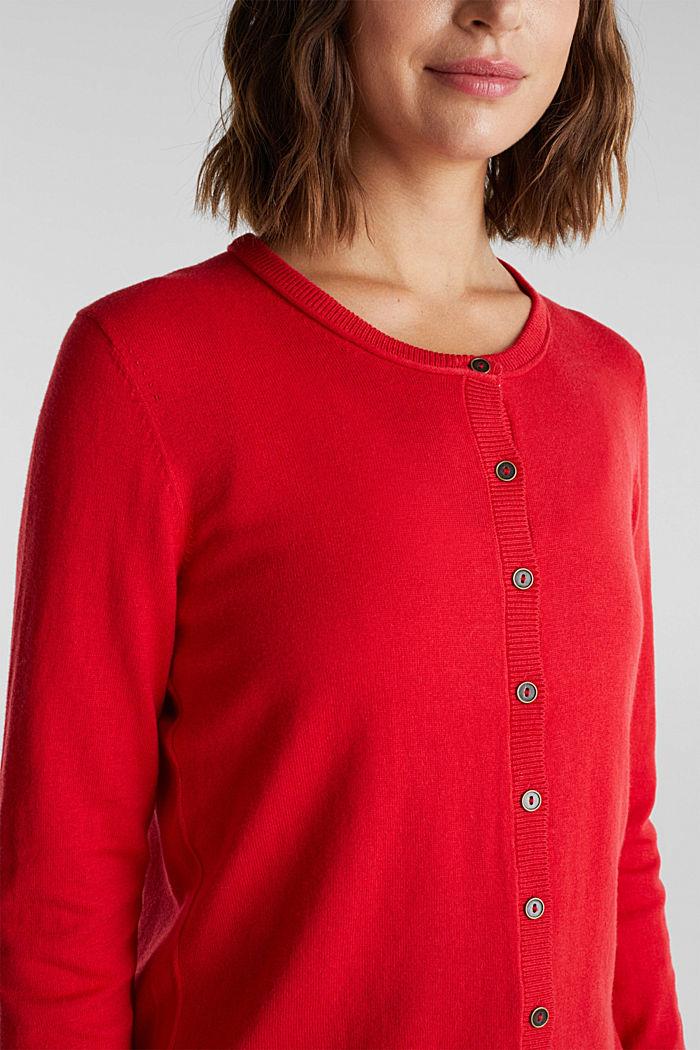 Basic cardigan, organic cotton, RED, detail image number 2