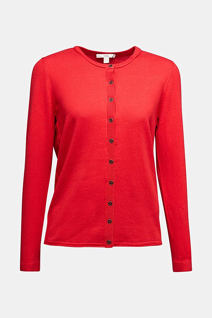 Basic cardigan, organic cotton, RED, detail image number 5