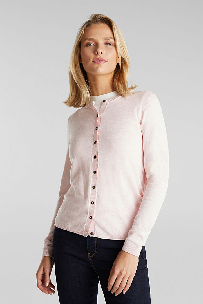 Basic cardigan, organic cotton, LIGHT PINK, detail image number 0