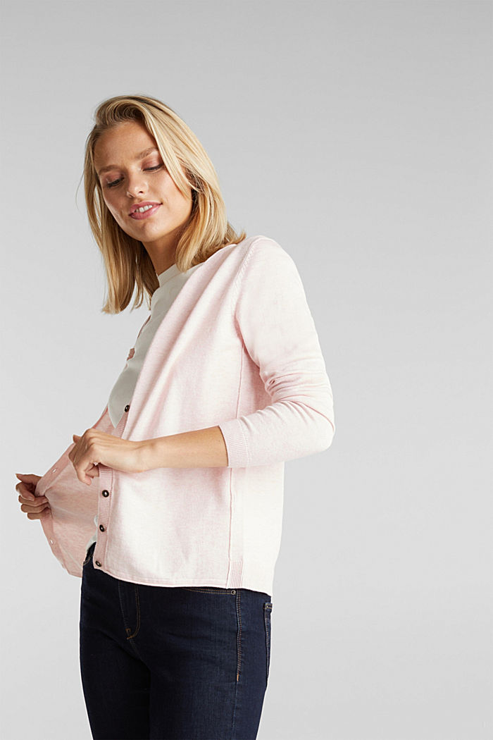 Basic cardigan, organic cotton, LIGHT PINK, detail image number 5