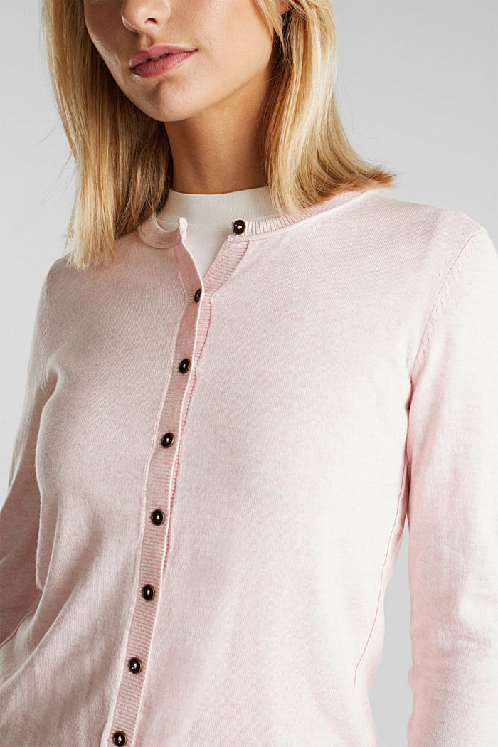 Basic cardigan, organic cotton, LIGHT PINK, detail image number 2