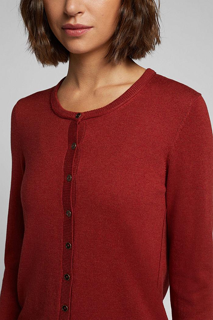 Basic cardigan, organic cotton, TERRACOTTA, detail image number 2