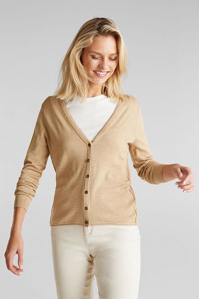 Basic V-Neck-Cardigan, Bio-Baumwolle