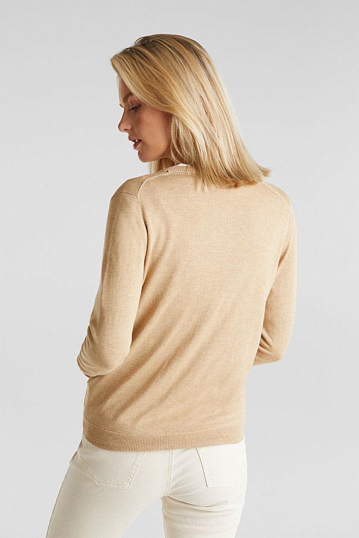 Basic V-neck cardigan, organic cotton, BEIGE, detail image number 3