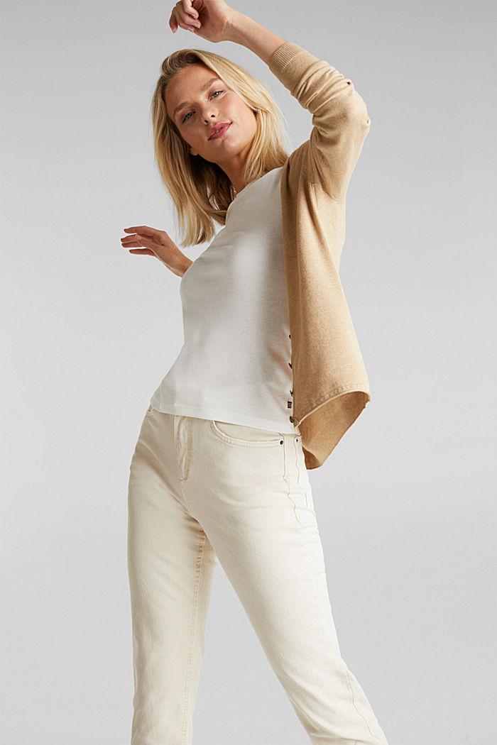 Basic V-neck cardigan, organic cotton, BEIGE, detail image number 5