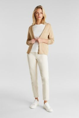 Basic V-neck cardigan, organic cotton, BEIGE 5, detail