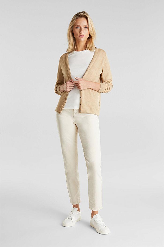 Basic V-neck cardigan, organic cotton, BEIGE, detail image number 1