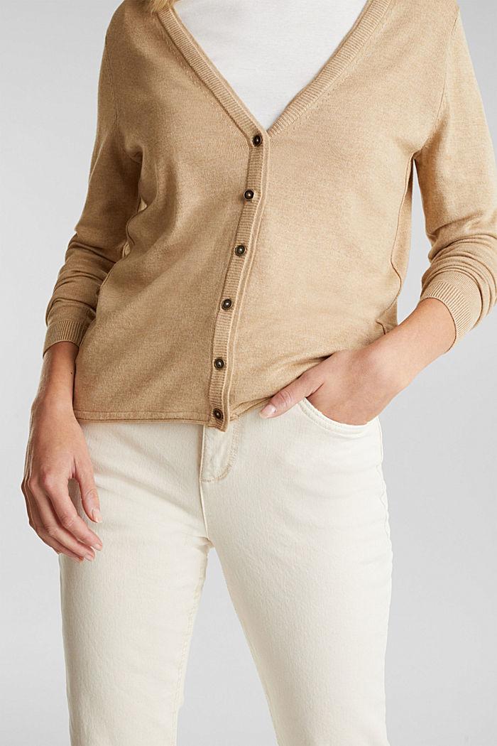 Basic V-neck cardigan, organic cotton, BEIGE, detail image number 2
