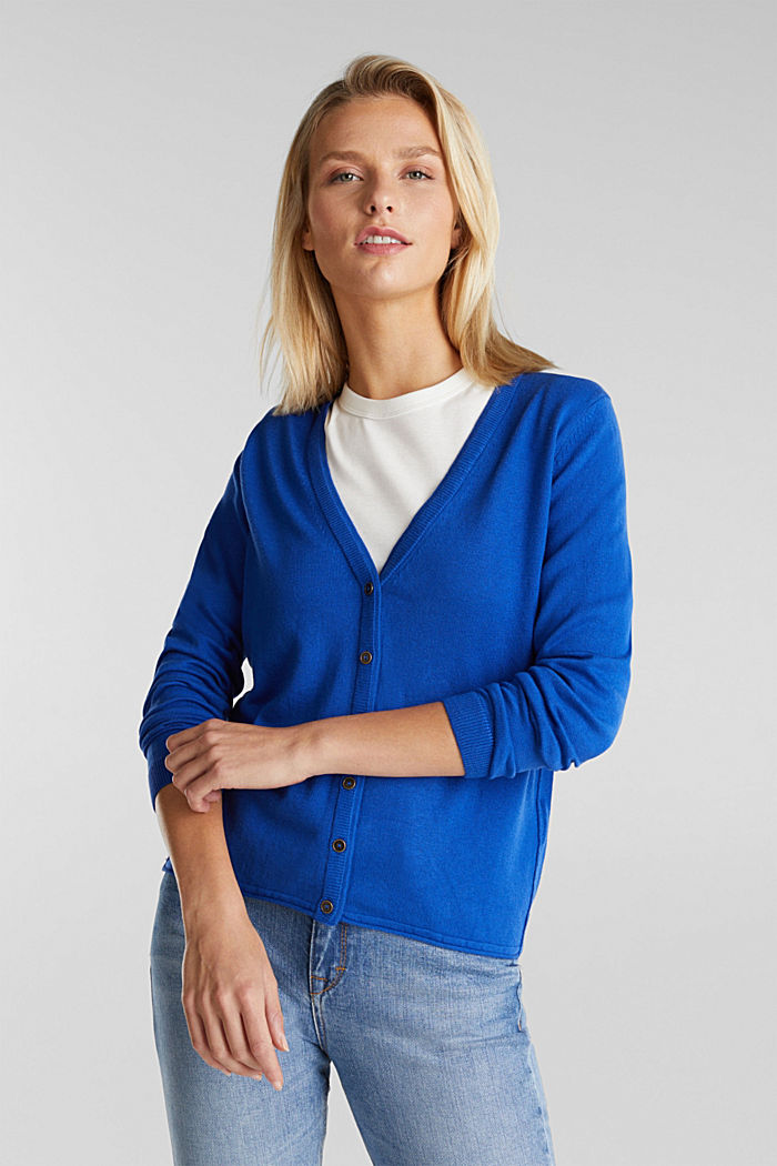 Basic V-neck cardigan, organic cotton, BRIGHT BLUE, detail image number 0
