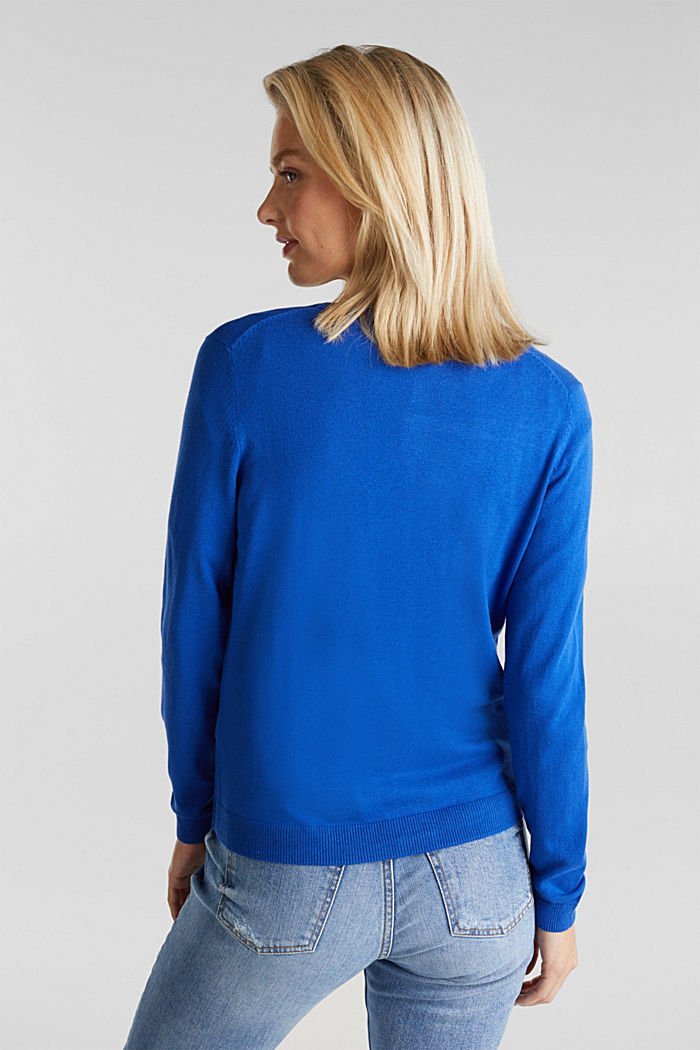 Basic V-neck cardigan, organic cotton, BRIGHT BLUE, detail image number 3