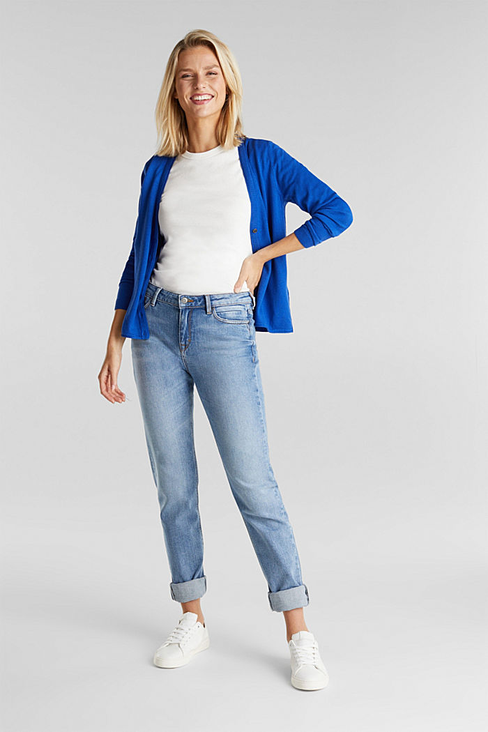 Basic V-neck cardigan, organic cotton, BRIGHT BLUE, detail image number 1