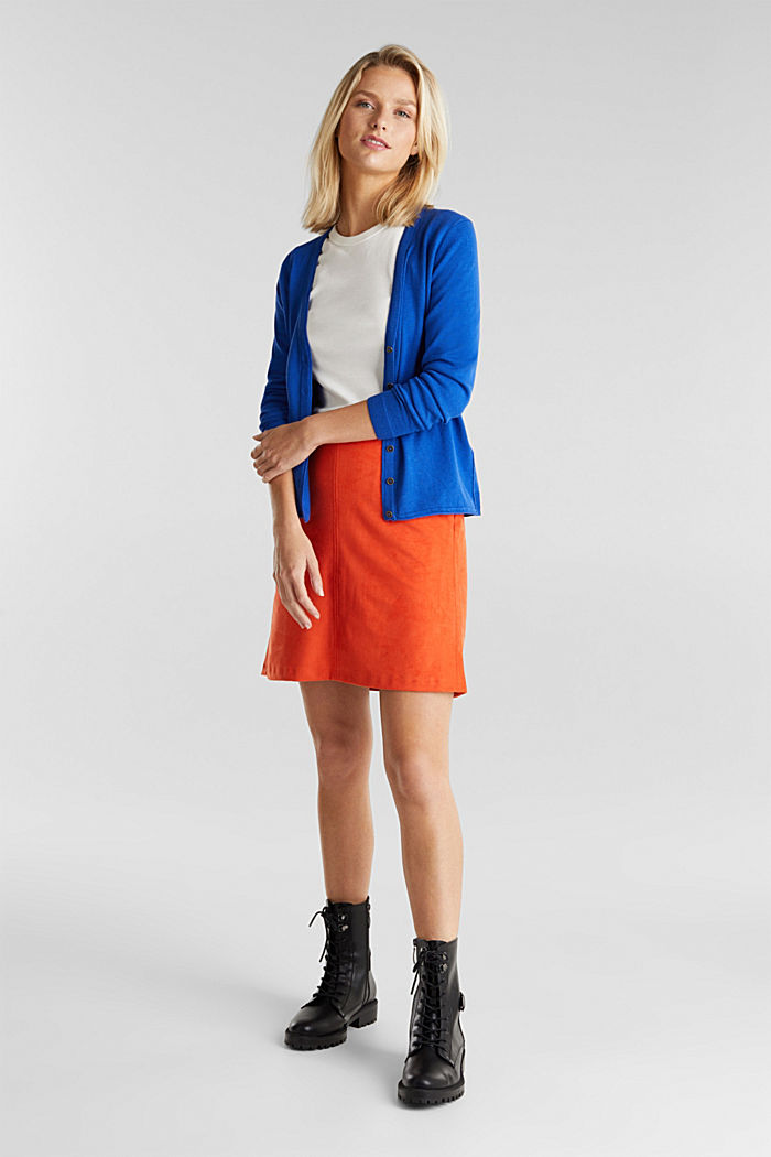 Basic V-neck cardigan, organic cotton, BRIGHT BLUE, detail image number 5