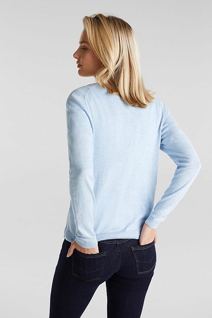Basic V-neck cardigan, organic cotton, LIGHT BLUE, detail image number 3