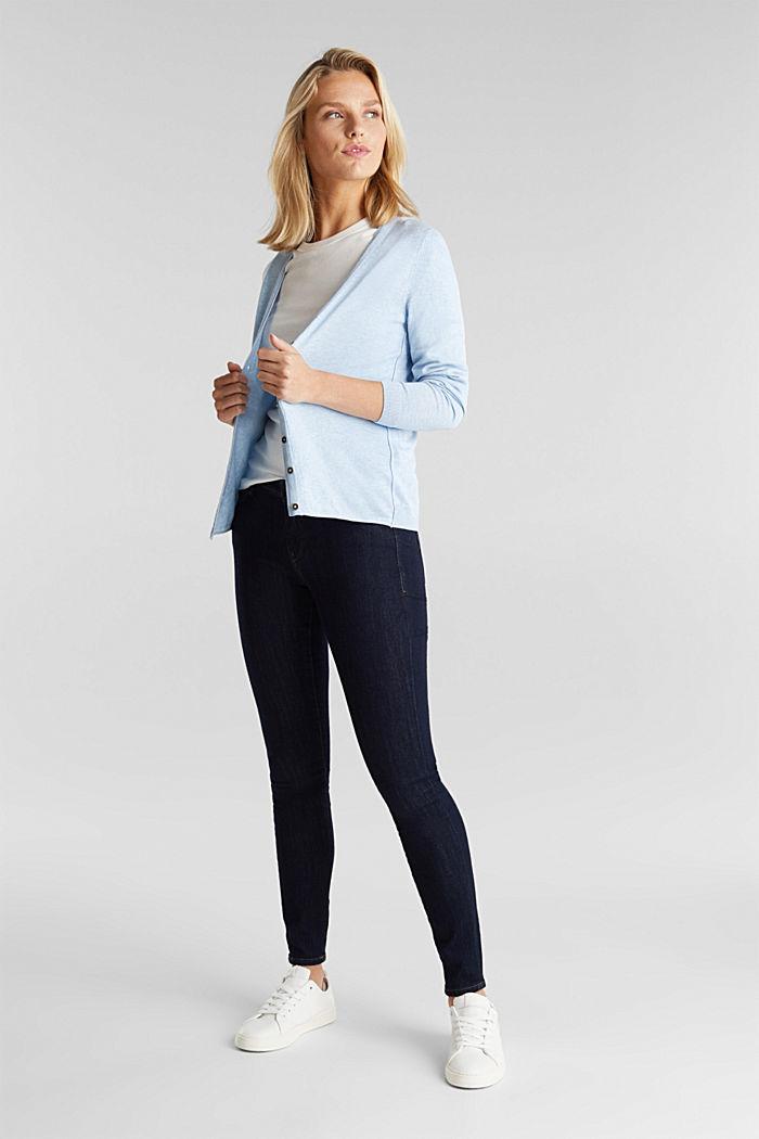 Basic V-neck cardigan, organic cotton, LIGHT BLUE, detail image number 1