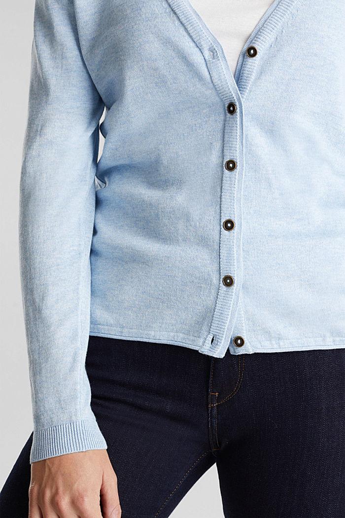 Basic V-neck cardigan, organic cotton, LIGHT BLUE, detail image number 2