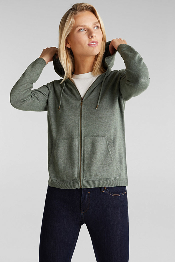 Hooded cardigan, organic cotton, KHAKI GREEN, detail image number 0