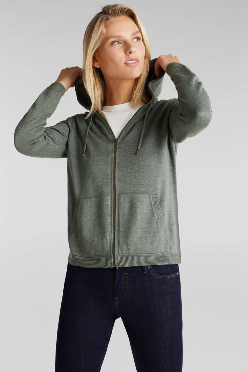 edc - Hooded cardigan, organic cotton