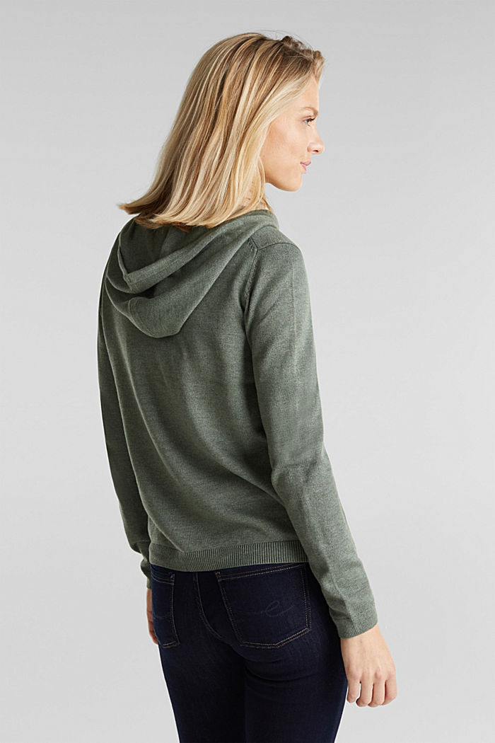 Hooded cardigan, organic cotton, KHAKI GREEN, detail image number 3