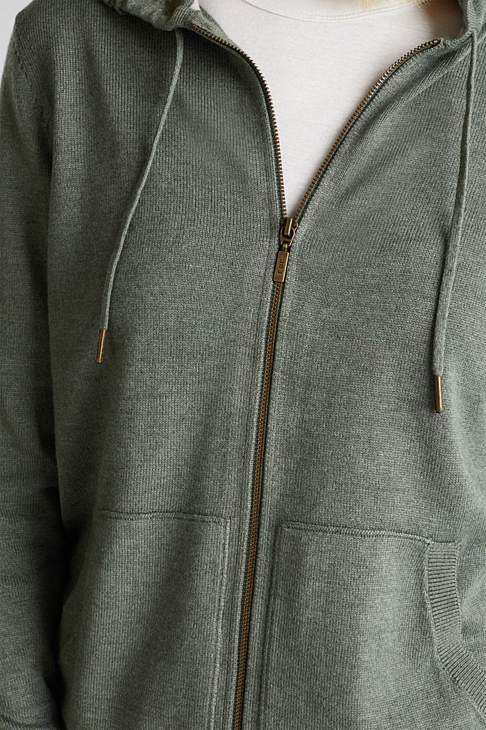 Hooded cardigan, organic cotton, KHAKI GREEN, detail image number 2