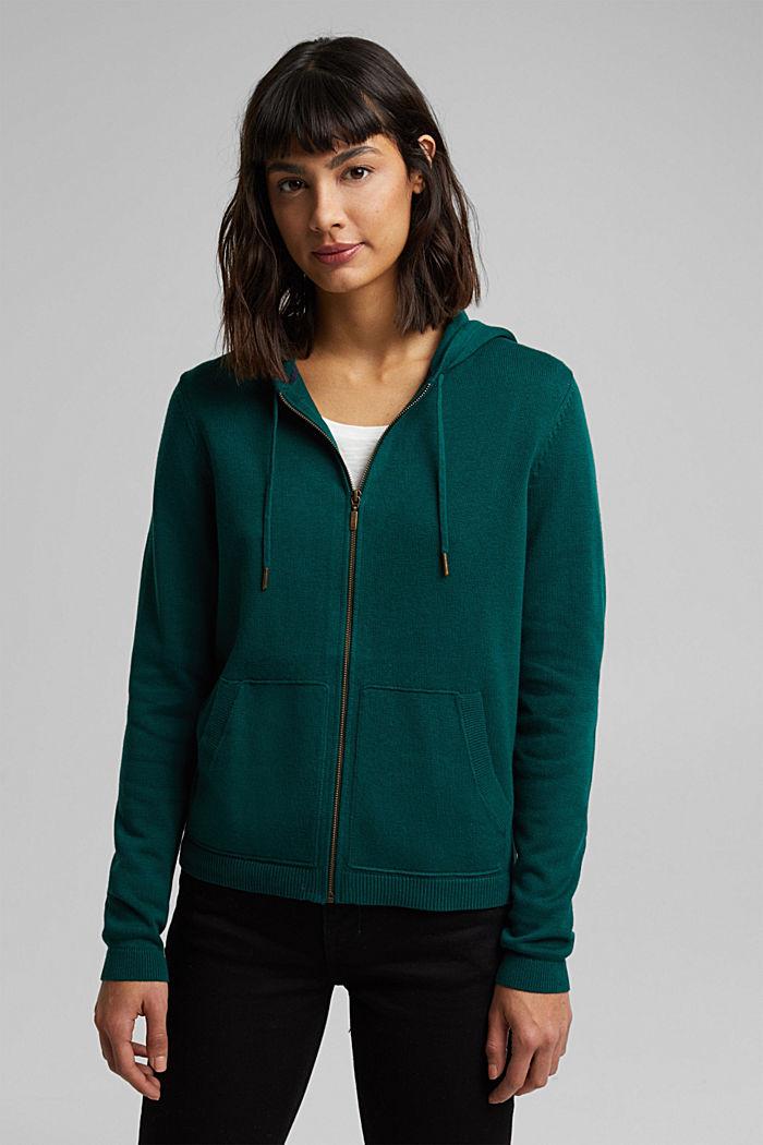 Hooded cardigan, organic cotton, DARK TEAL GREEN, detail image number 0