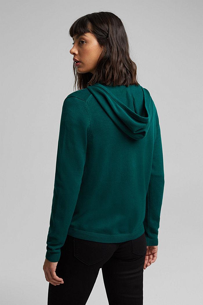 Hooded cardigan, organic cotton, DARK TEAL GREEN, detail image number 3