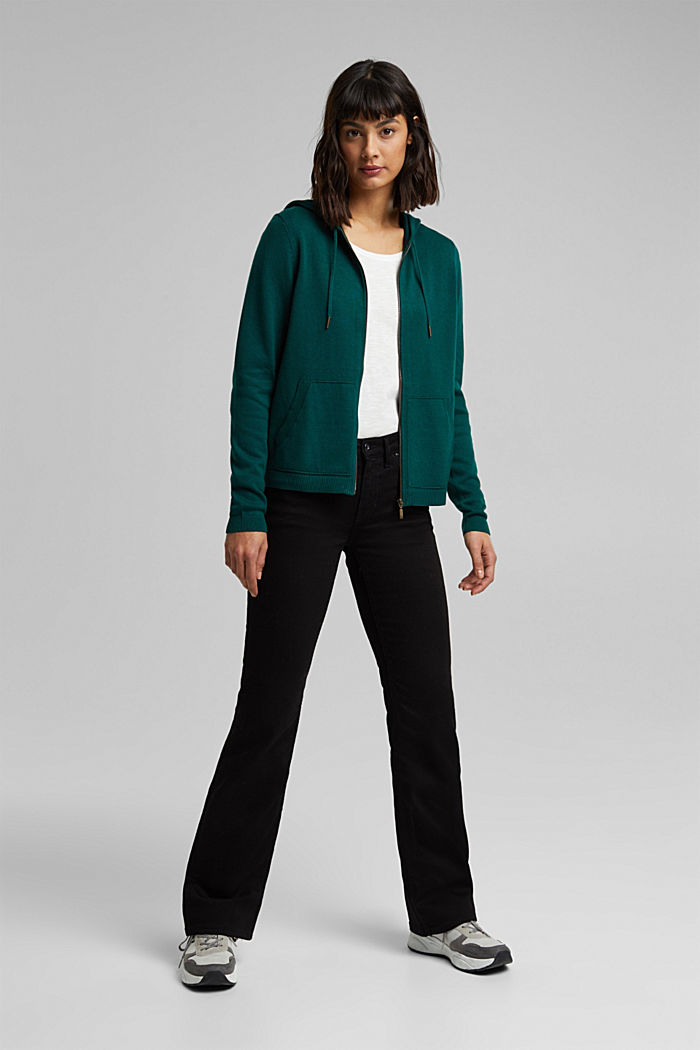 Hooded cardigan, organic cotton, DARK TEAL GREEN, detail image number 1