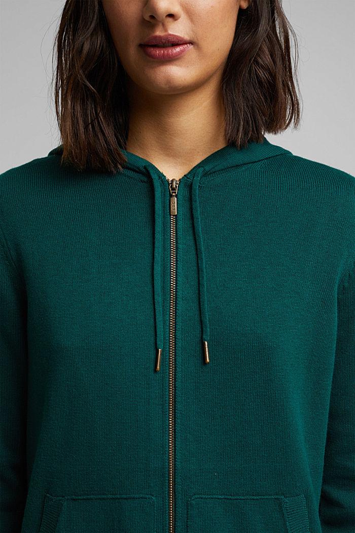 Hooded cardigan, organic cotton, DARK TEAL GREEN, detail image number 2