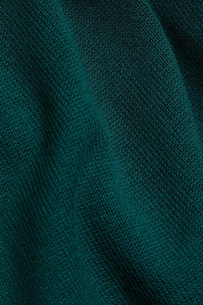 Hooded cardigan, organic cotton, DARK TEAL GREEN, detail image number 4