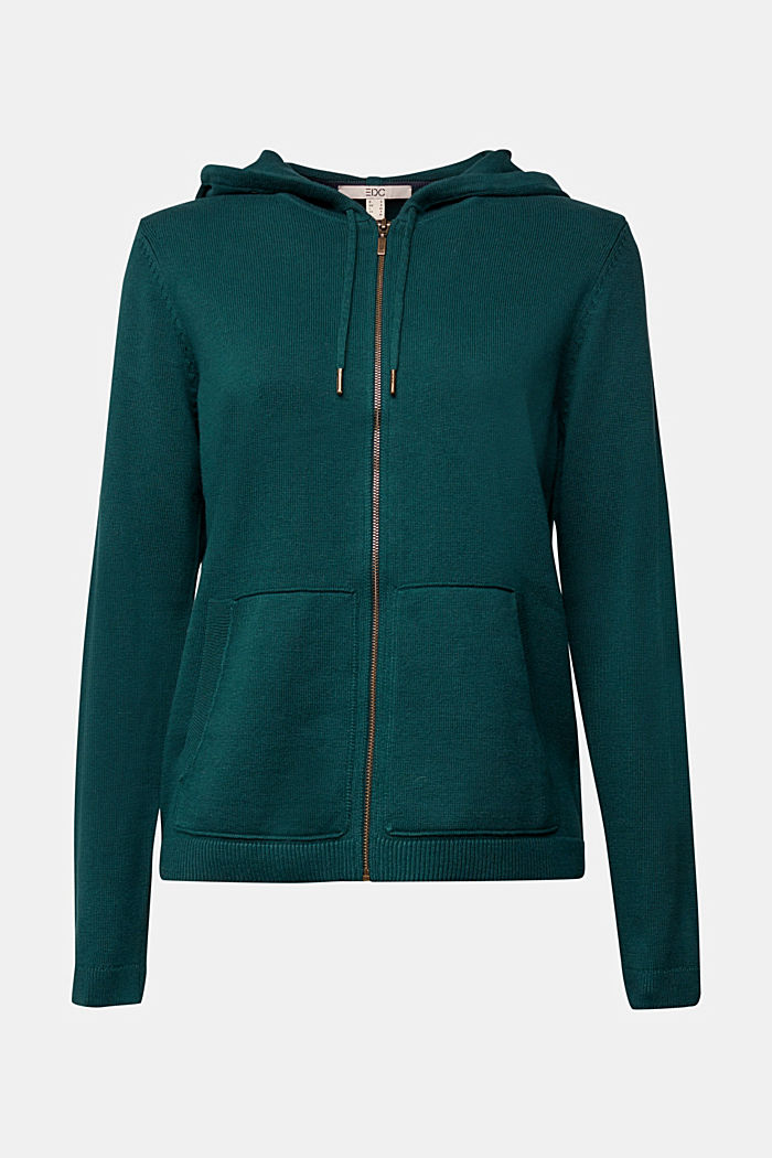 Hooded cardigan, organic cotton, DARK TEAL GREEN, detail image number 5