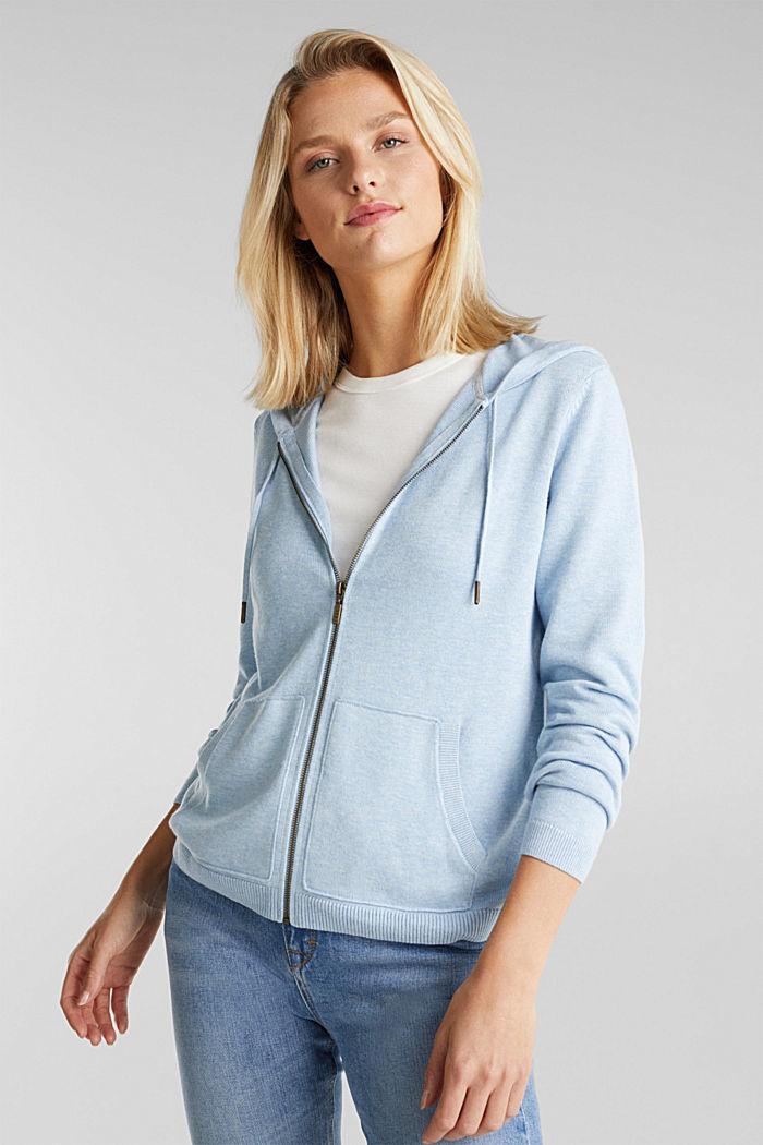 Hooded cardigan, organic cotton, LIGHT BLUE, detail image number 0
