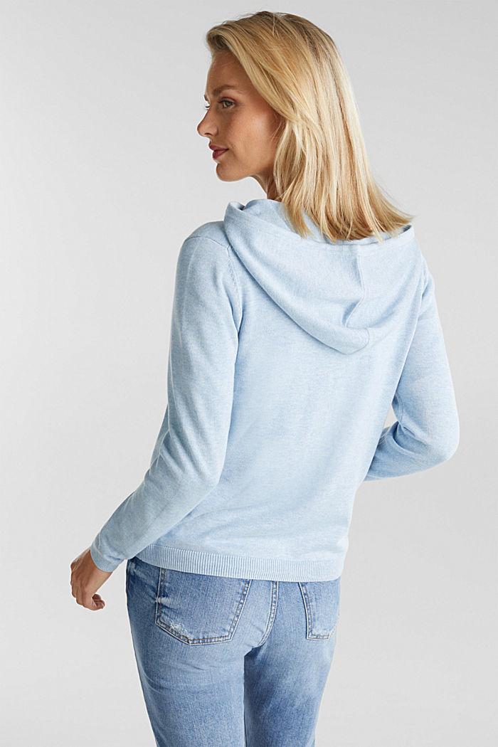 Hooded cardigan, organic cotton, LIGHT BLUE, detail image number 3