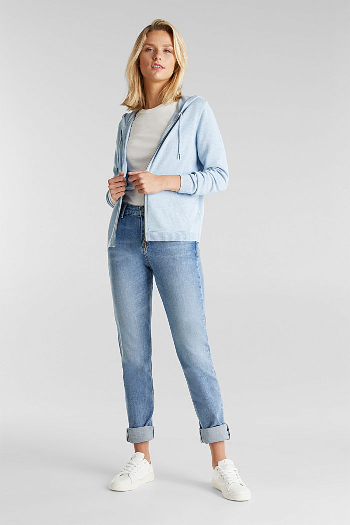 Hooded cardigan, organic cotton, LIGHT BLUE, detail image number 1