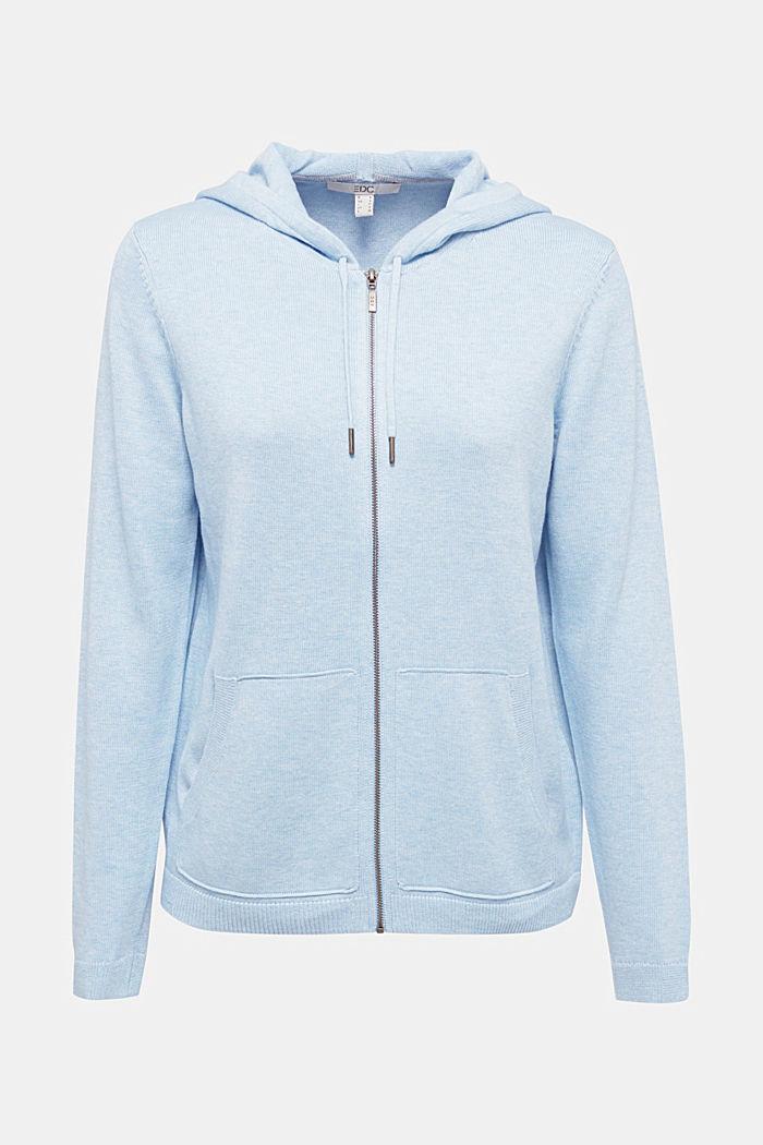 Hooded cardigan, organic cotton, LIGHT BLUE, detail image number 5