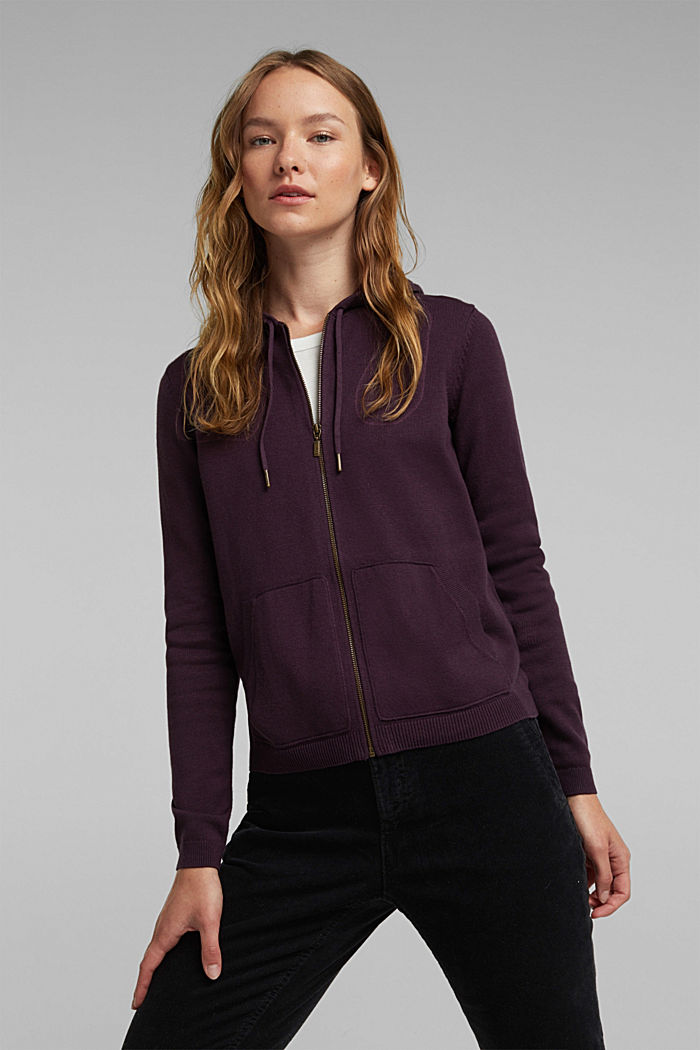 Hooded cardigan, organic cotton, AUBERGINE, detail image number 0