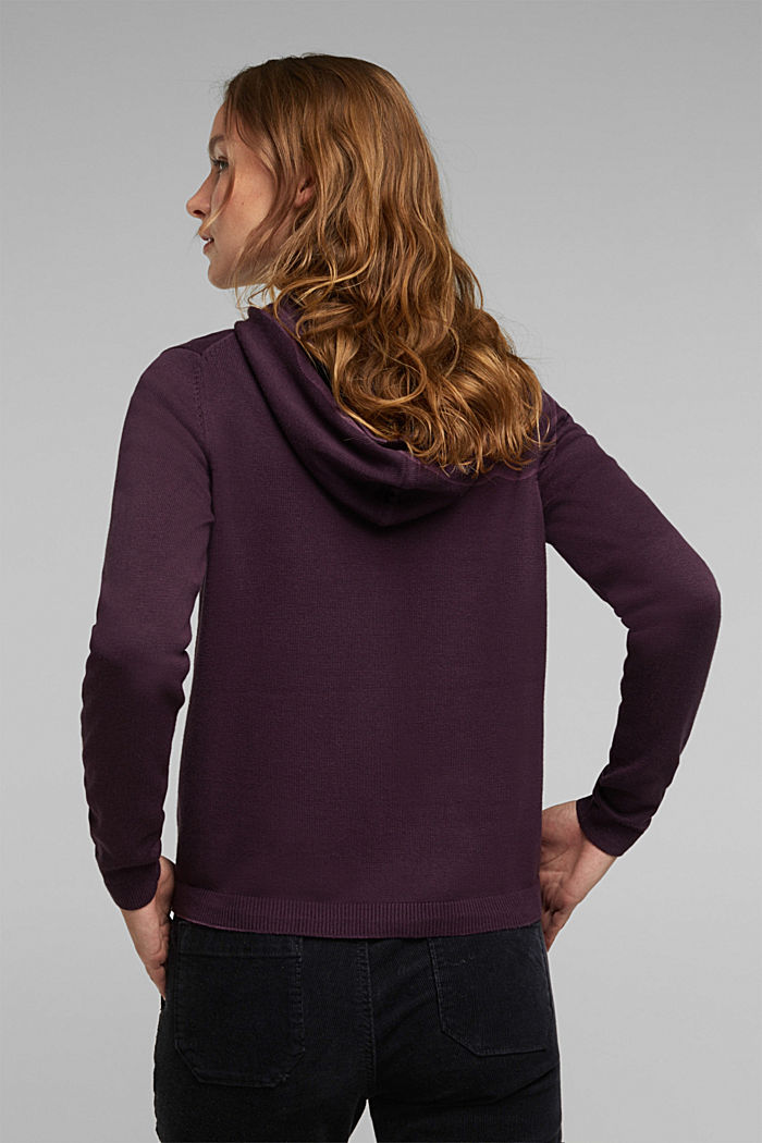 Hooded cardigan, organic cotton, AUBERGINE, detail image number 3