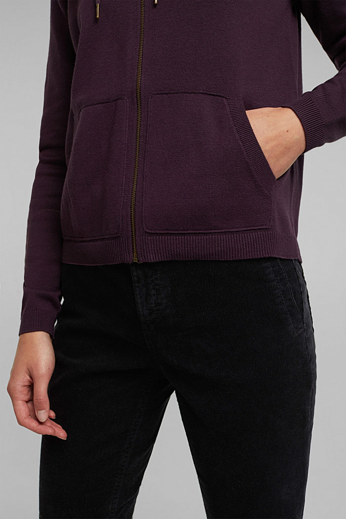 Hooded cardigan, organic cotton, AUBERGINE, detail image number 2