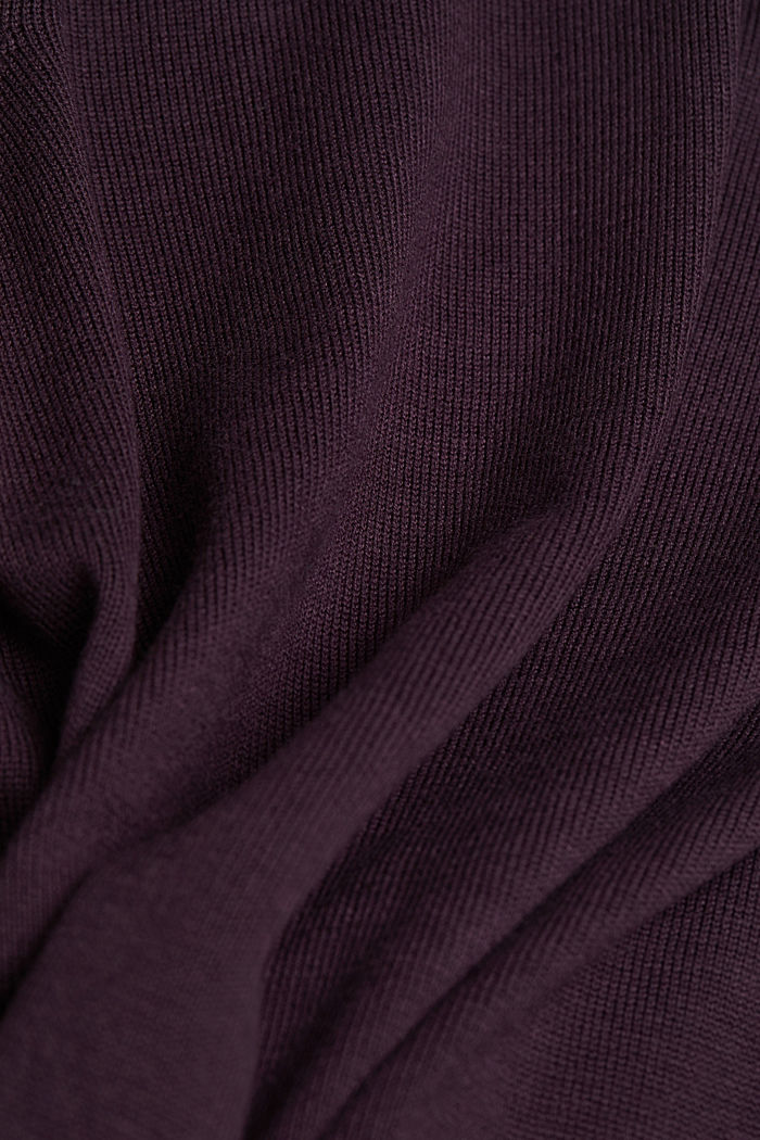 Hooded cardigan, organic cotton, AUBERGINE, detail image number 4
