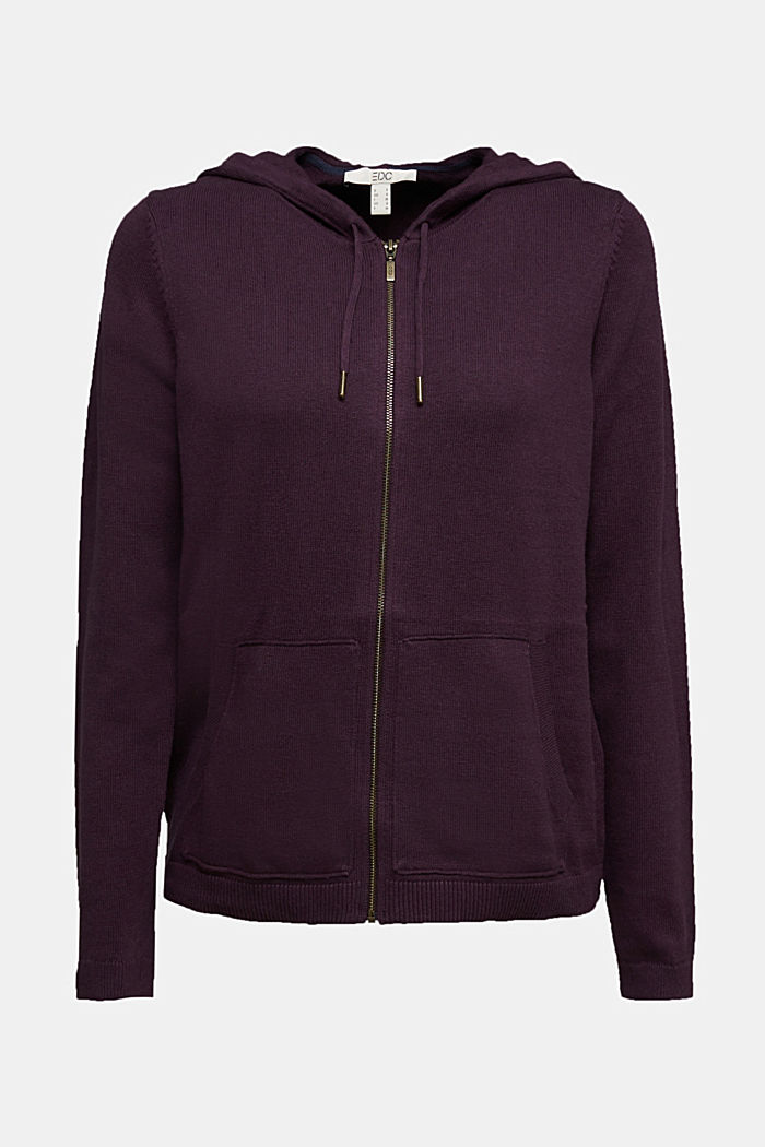 Hooded cardigan, organic cotton, AUBERGINE, detail image number 5