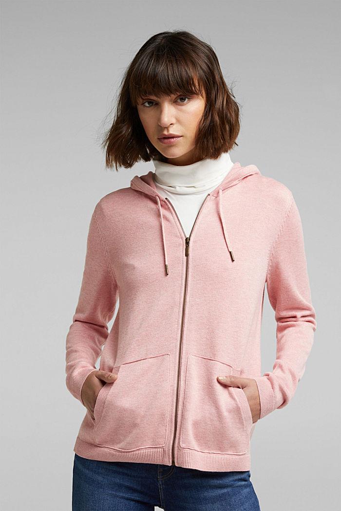 Hooded cardigan, organic cotton, PINK, detail image number 0
