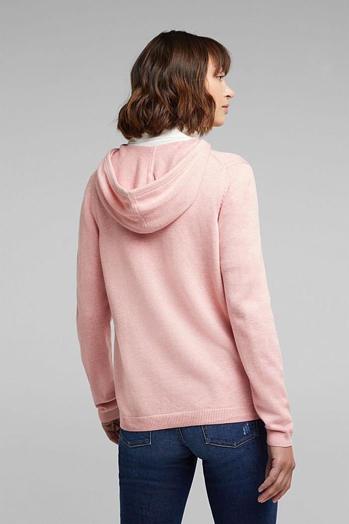 Hooded cardigan, organic cotton, PINK, detail image number 3