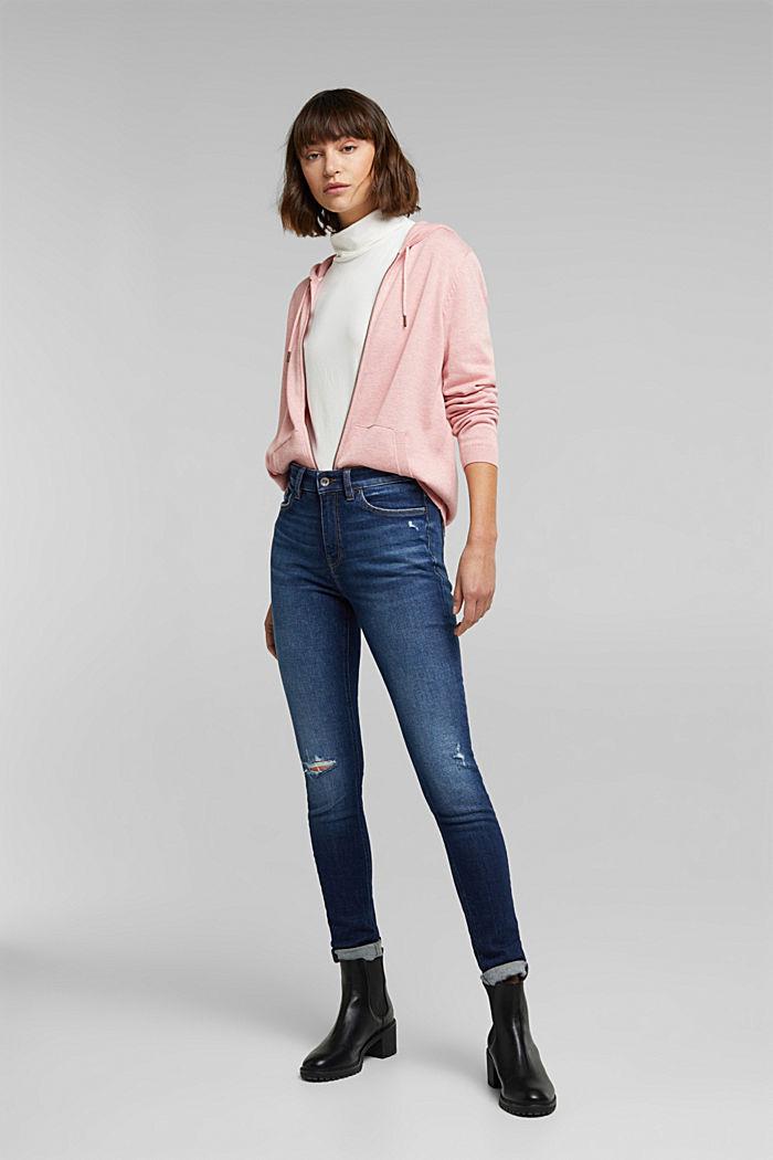 Hooded cardigan, organic cotton, PINK, detail image number 1