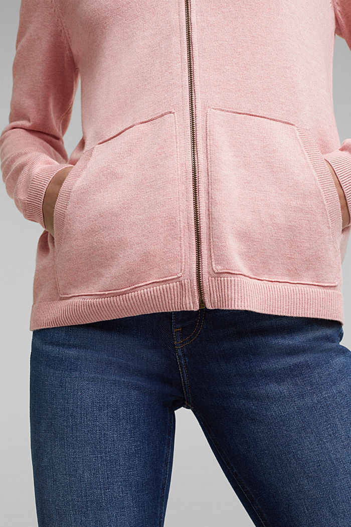 Hooded cardigan, organic cotton, PINK, detail image number 2