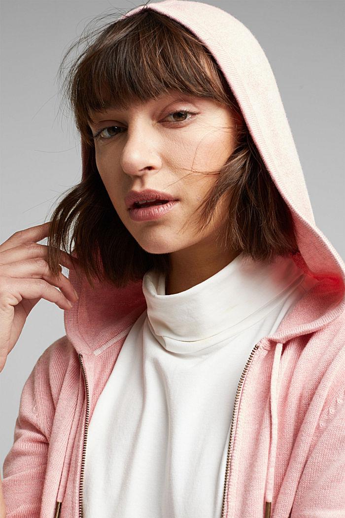 Hooded cardigan, organic cotton, PINK, detail image number 5