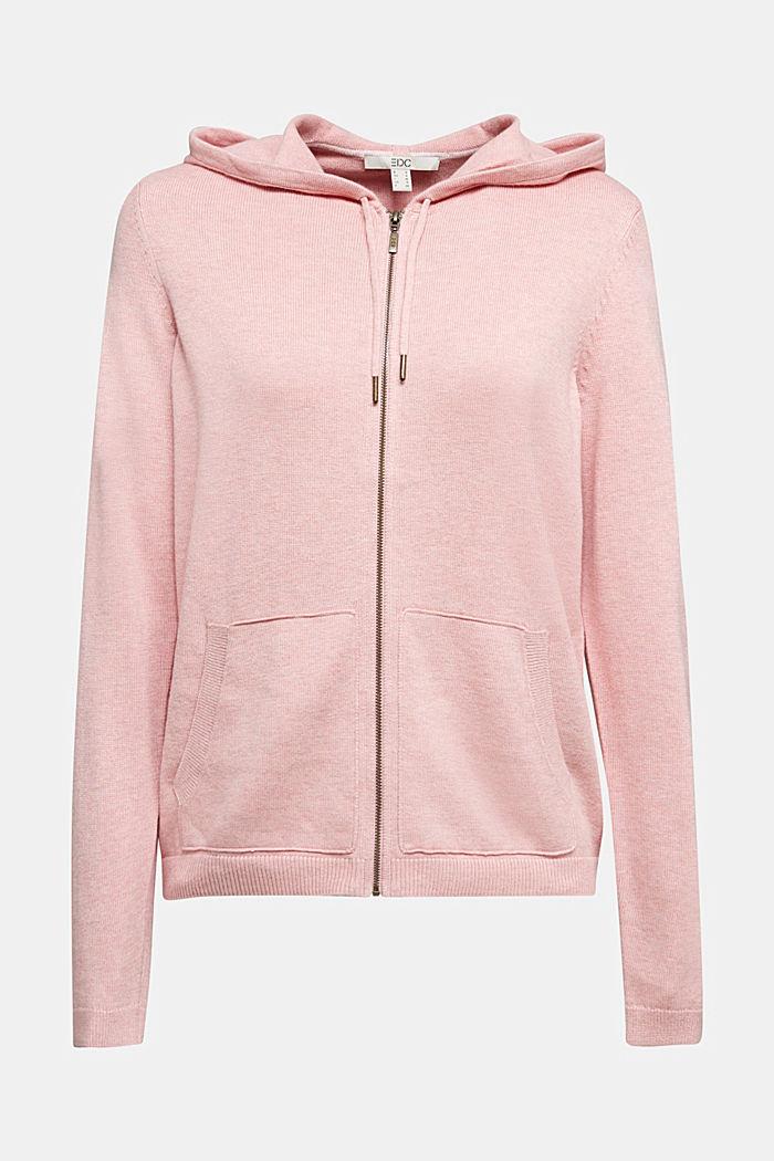 Hooded cardigan, organic cotton, PINK, detail image number 6